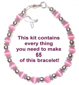 Breast cancer awareness fundraising supplies - a kit to make your own breast cancer awareness bracelets.