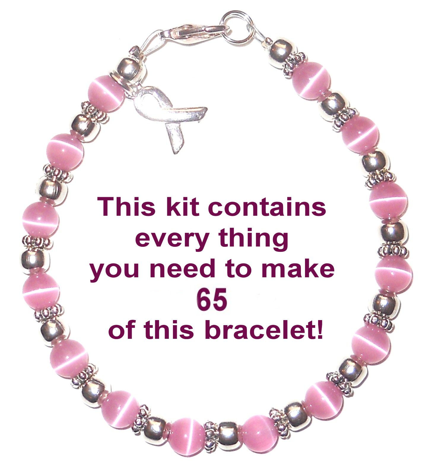 T Cancer Awareness Bracelet Kit With Clasps Wire 6mm Makes 65