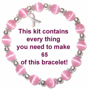 T Cancer Awareness Kits Kit Contains Everything You Need To Make Your Own Bracelets With 6mm Pink Cat S Eye Beads