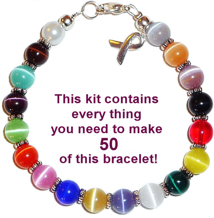 Make Your Own Cancer Jewelry Using This Awareness Bracelet Kit Contains Everything You