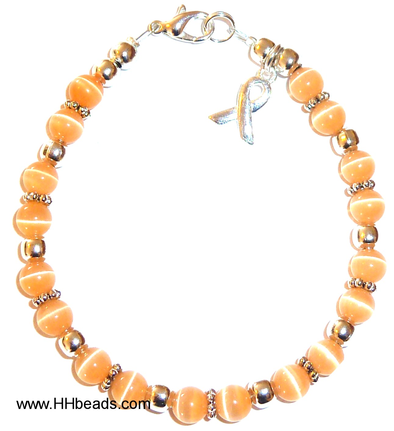 Peach Uterine Cancer Packaged Awareness Bracelet 6mm