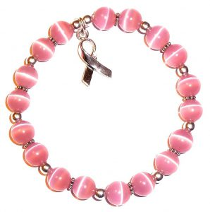 T Cancer Awareness Bracelet In Sterling Silver With Pink Cat S Eye Beads