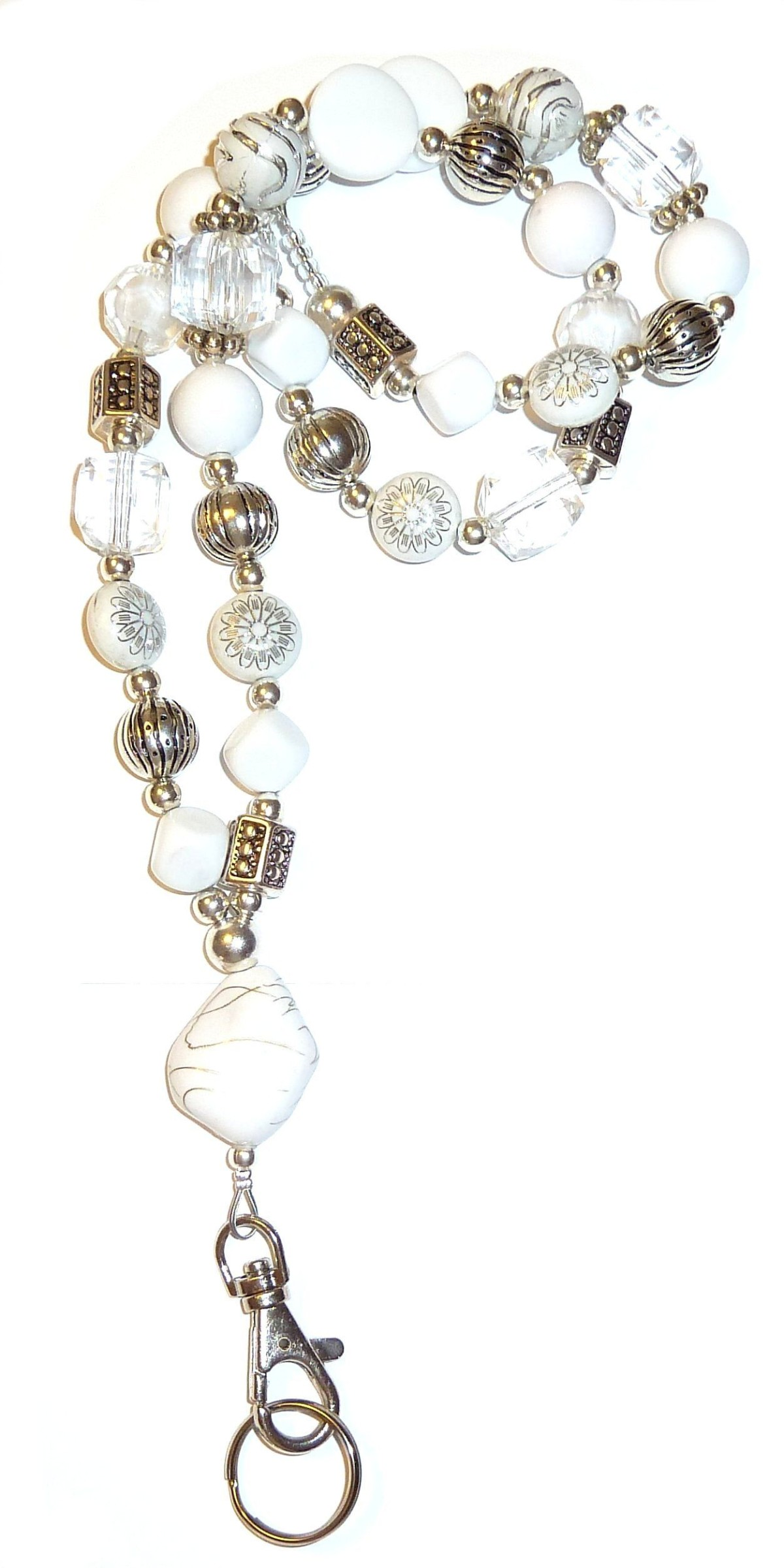Chunky White Fashion Lanyard with break away magnetic clasp