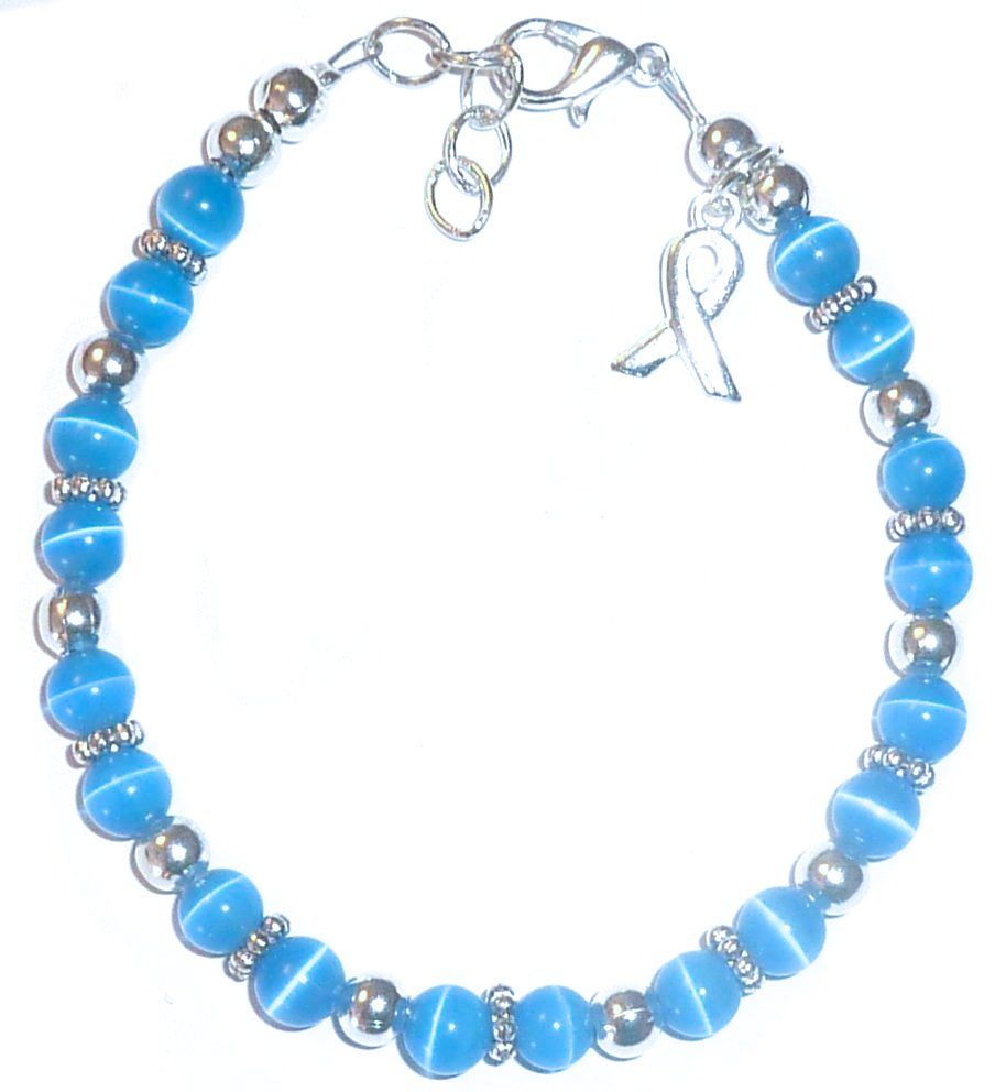 Colon Cancer Awareness Bracelet 6mm Blue