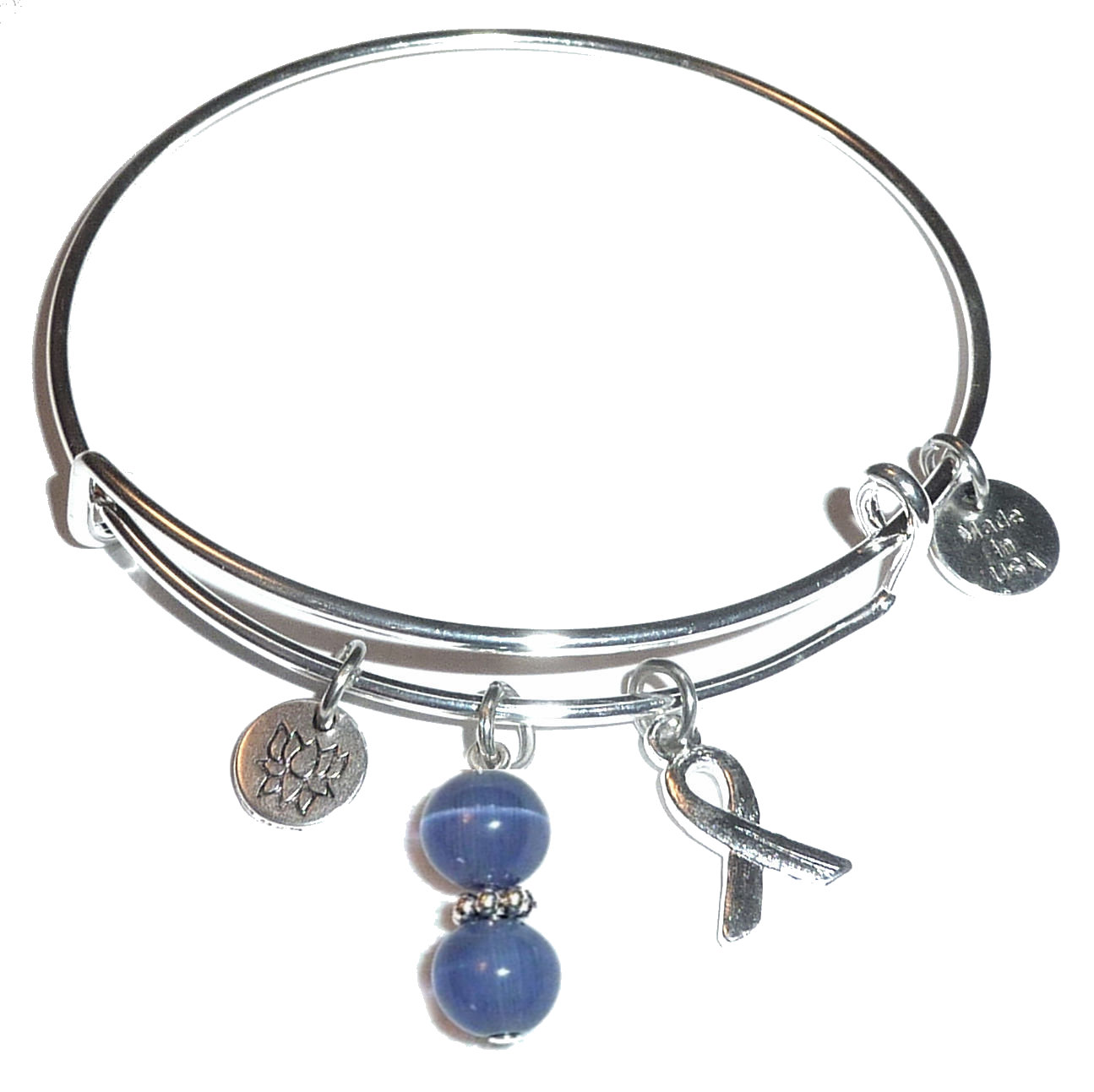 Periwinkle Stomach Cancer Hope For The Cure Bangle Bracelet Expandable Wire Comes In A Gift Box