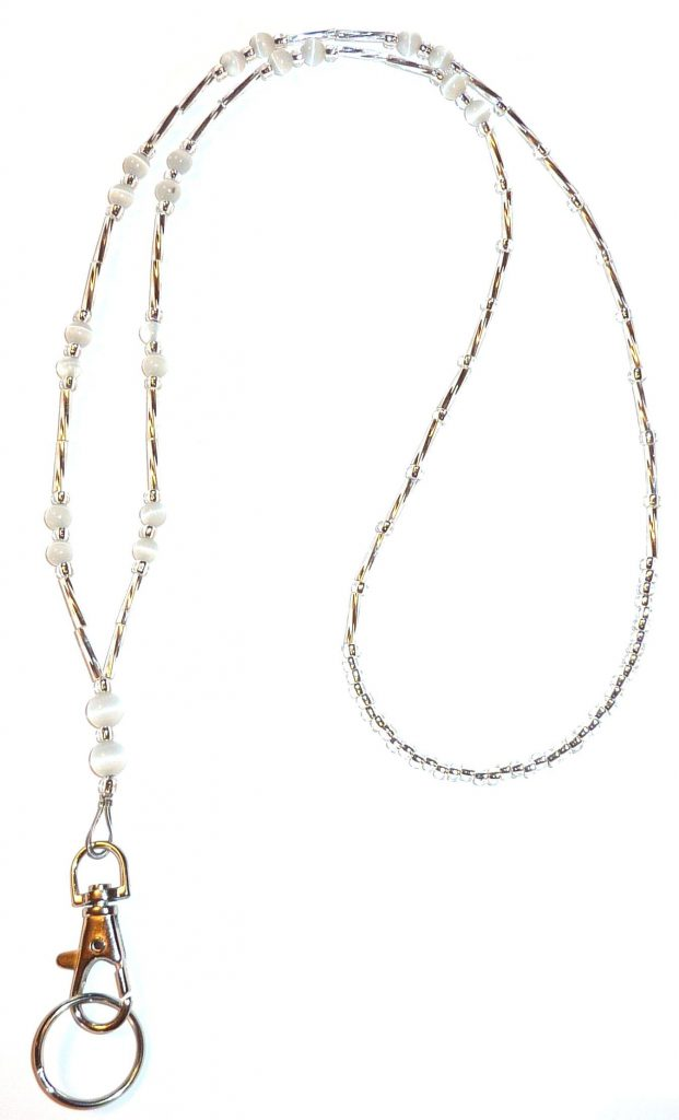 White Beaded Lanyard For Women