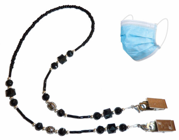 Black Decorative Fashion Leash Made in USA Mask Beaded Necklace Holder Holds Your Face Mask Around Your Neck 25 Long Lanyard