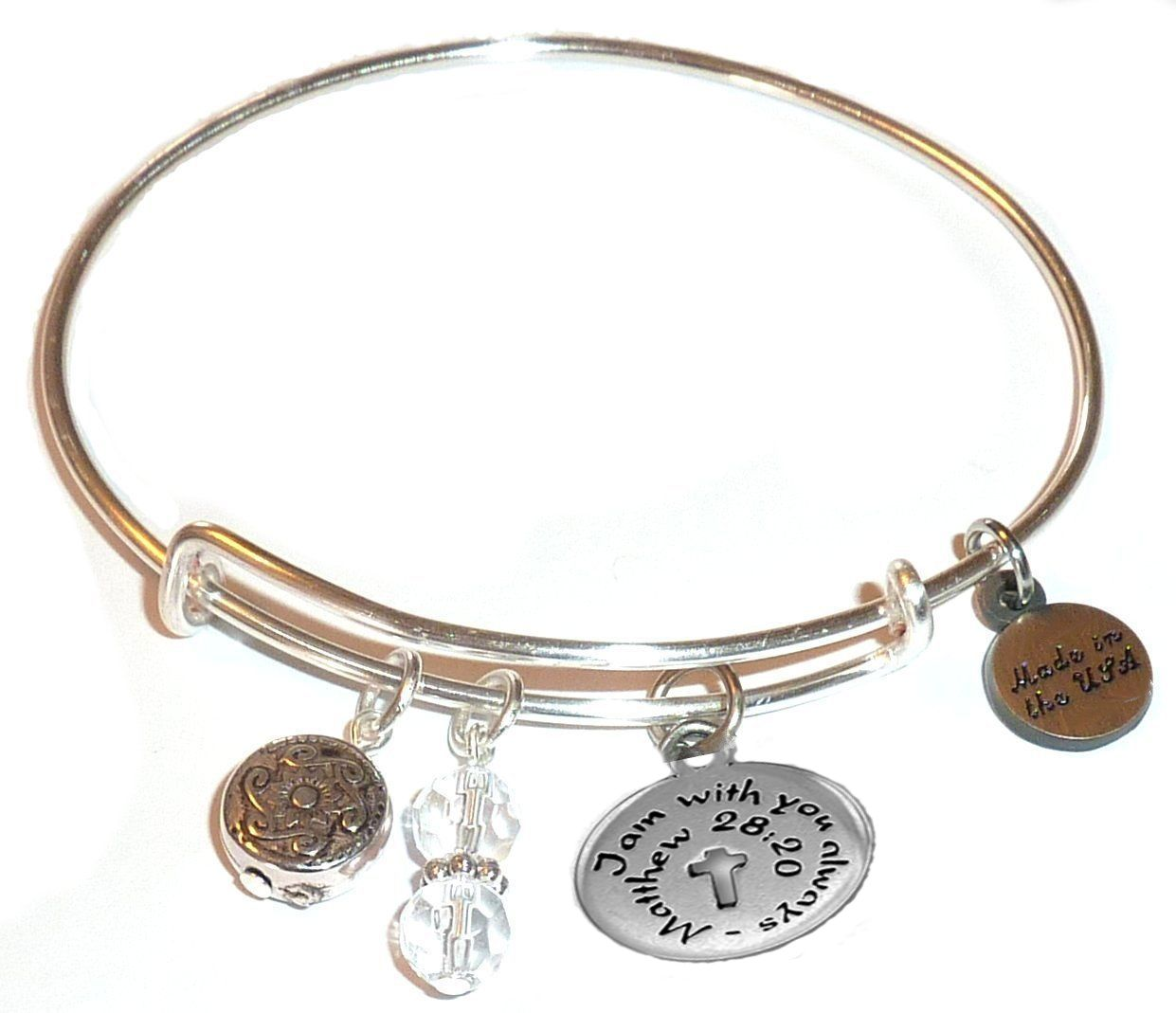 Religious Charm Bracelet: Bangle Bracelet Message