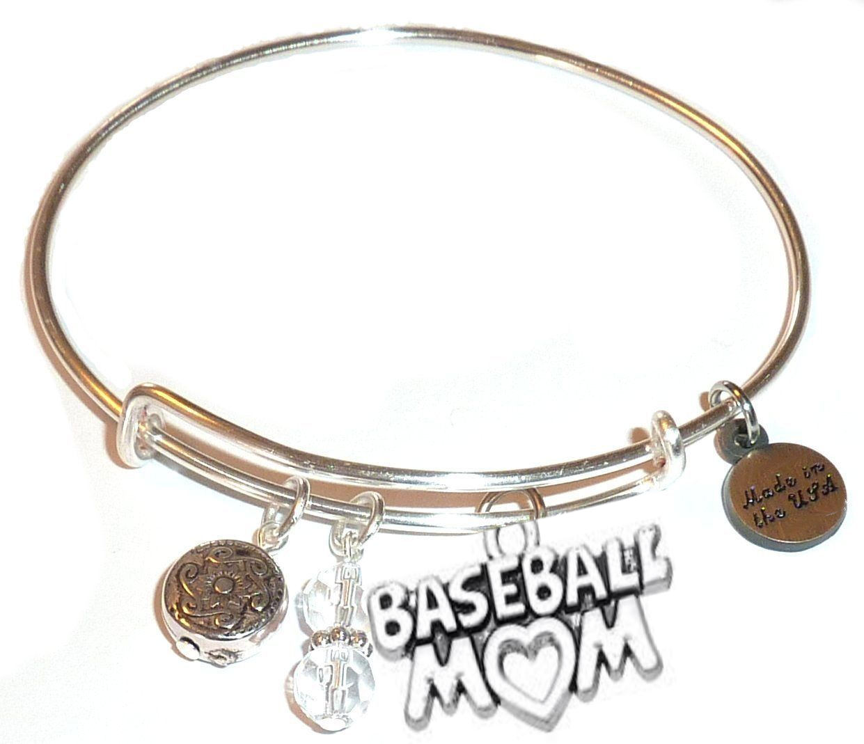 spring gift idea - baseball mom bangle bracelet