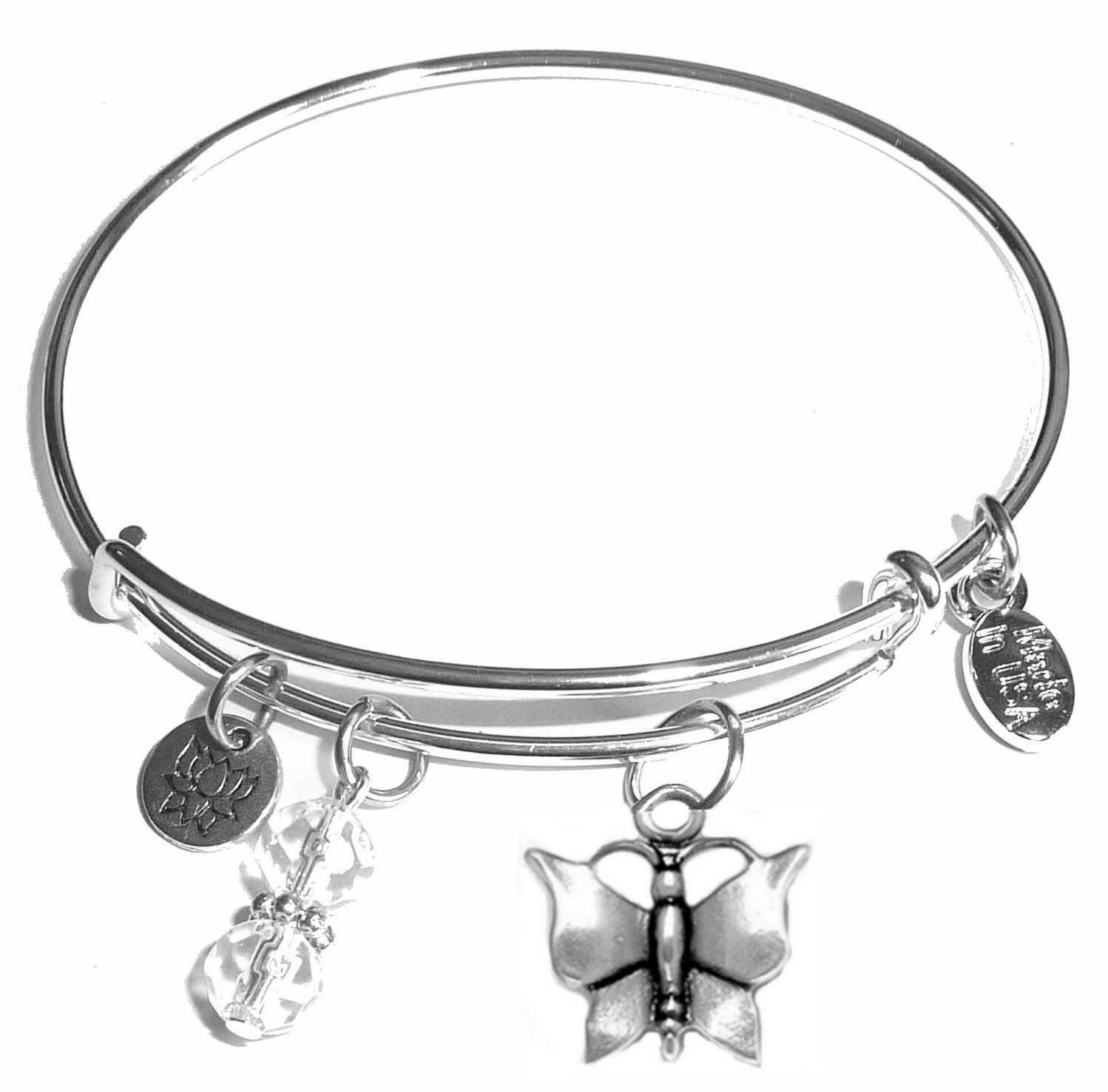 Erfly Message Bangle Bracelet Expandable Wire Comes In A Gift Box