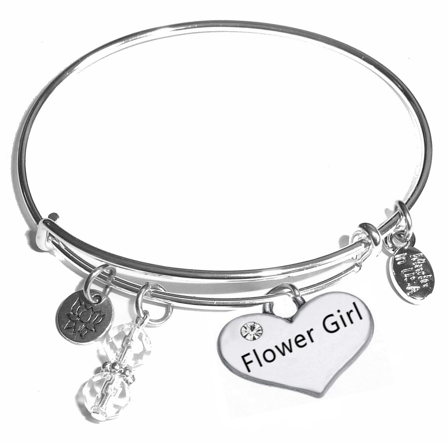 bracelet flower design silver girl products chez flowergirl jen