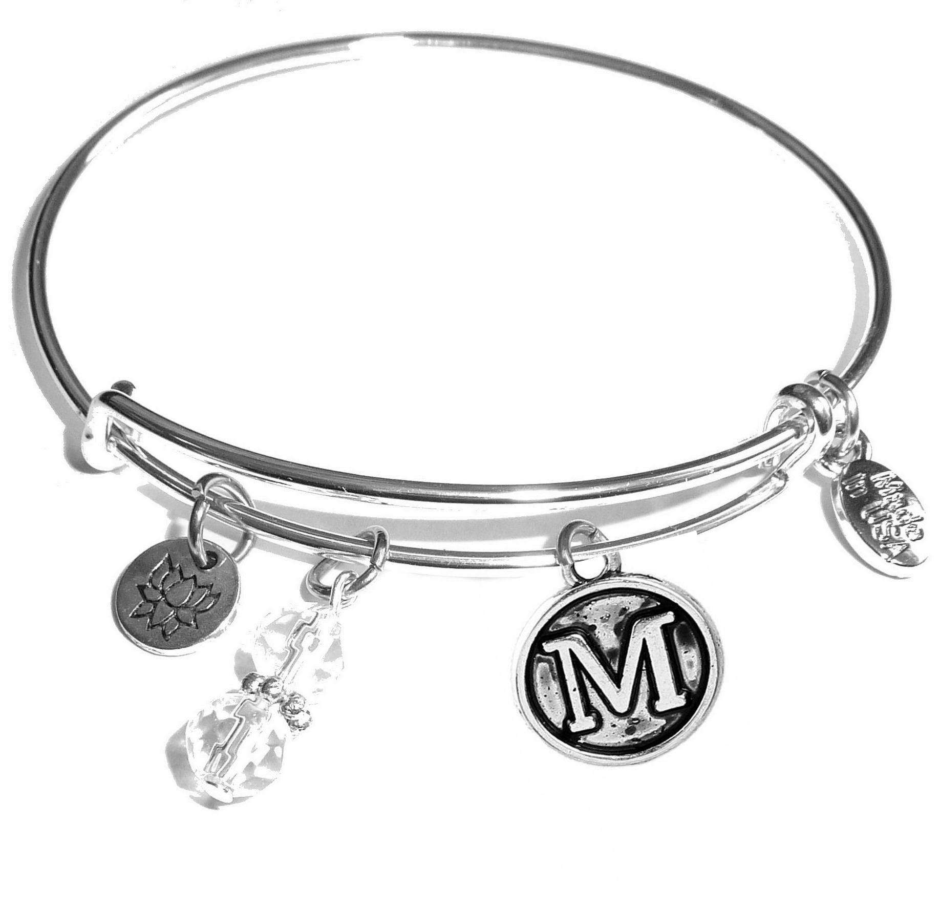 M Initial Bangle Bracelet Expandable Wire Comes In A Gift Box