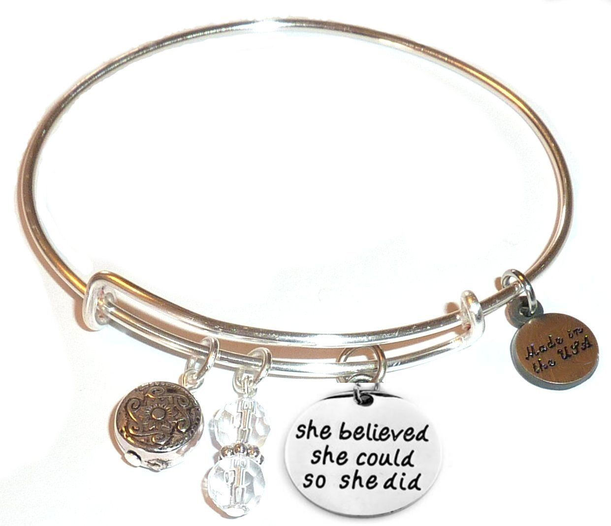 spring gift idea - bangle bracelet with she believed message