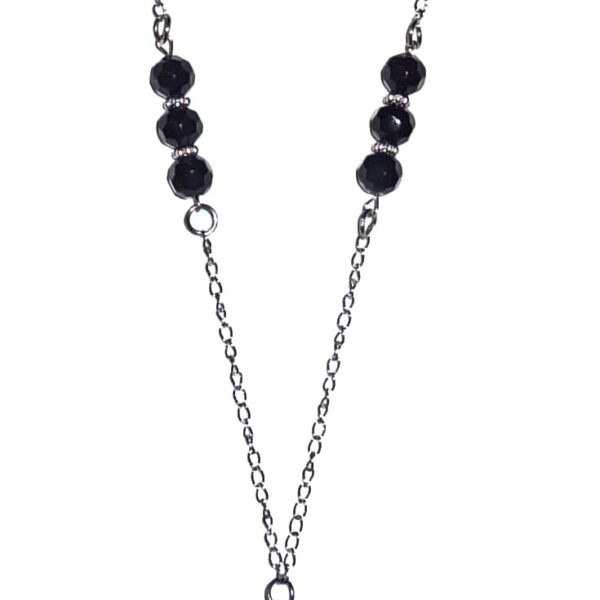 black beaded chain lanyard