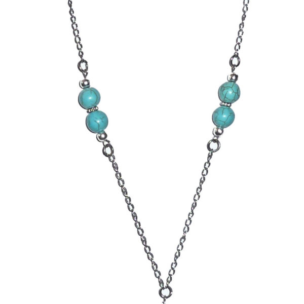 Turquoise beaded chain lanyard
