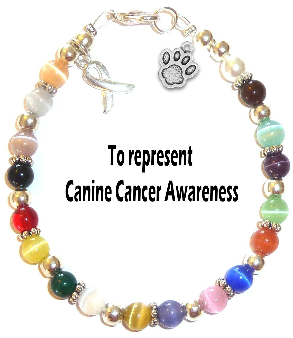 18 Colors Packaged Cancer Awareness Bracelet 6mm For Canine