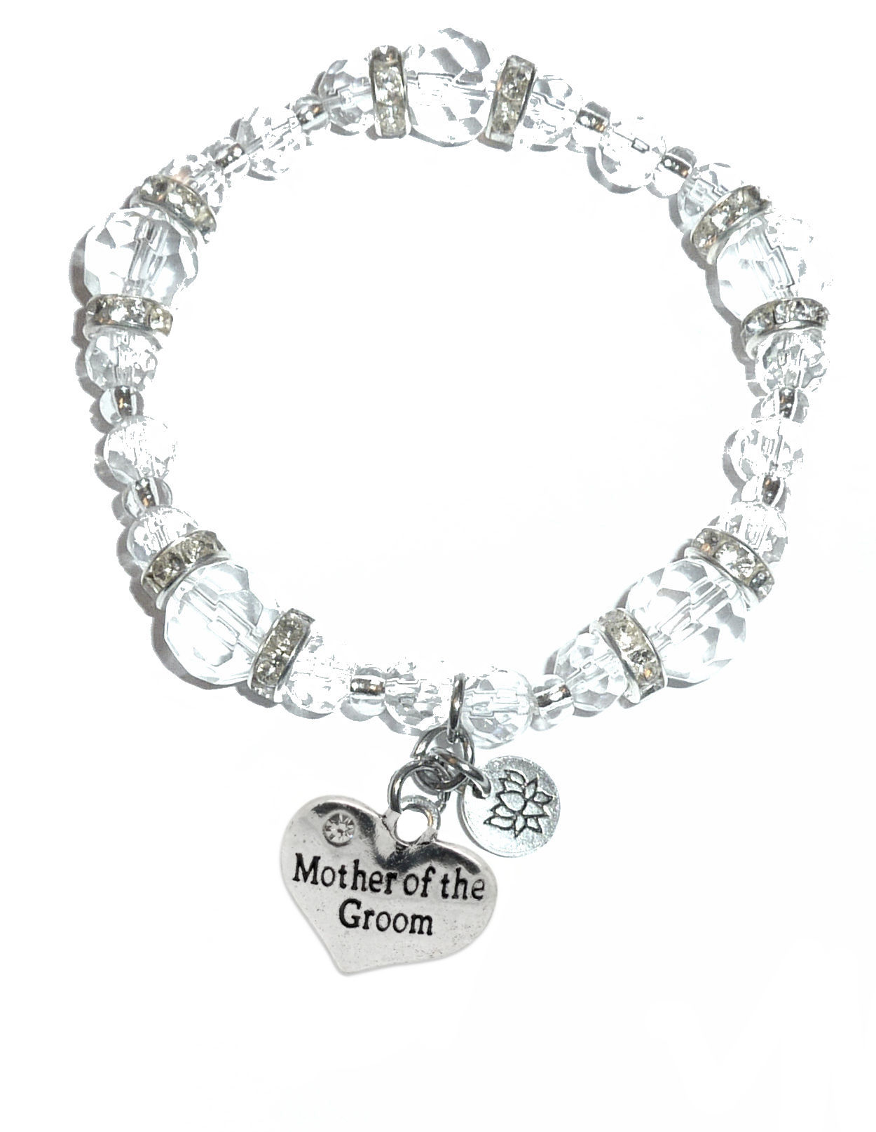 Mother Of The Groom Charm Bracelet Crystal Stretch