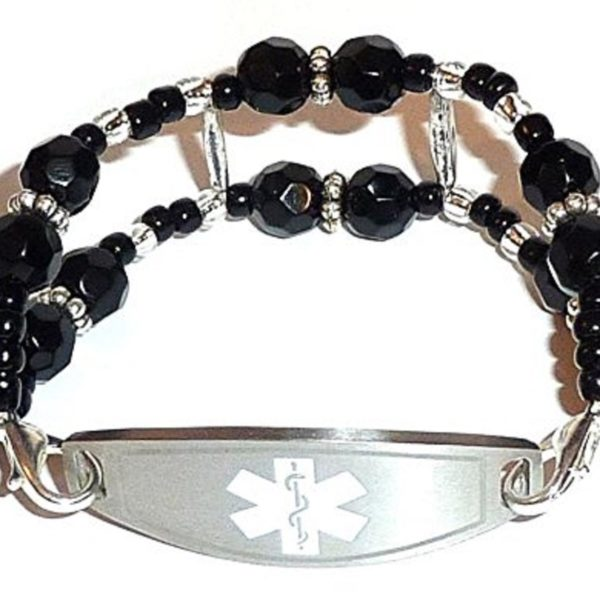 stylish medical alert bracelet - double black