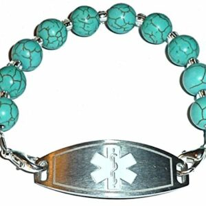 Turquoise Beaded Medical Alert ID Replacement Bracelet