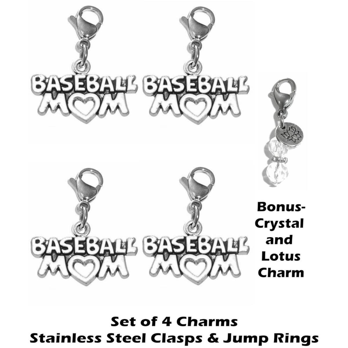 4 pack baseball mom clip on charms