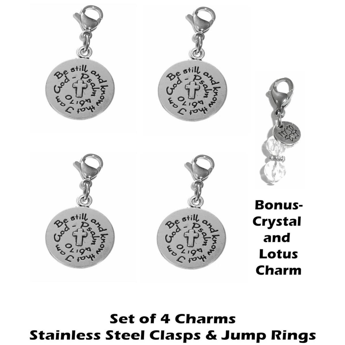 4 pack be still clip on charms - inspirational charms