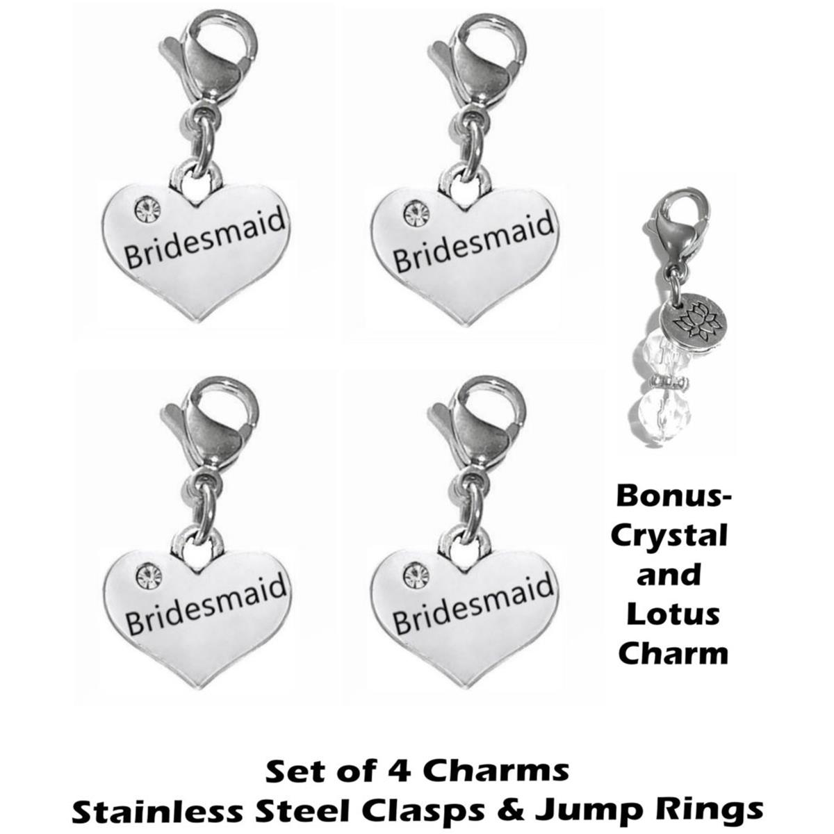 4 pack bridesmaid clip on charms - wedding party charms