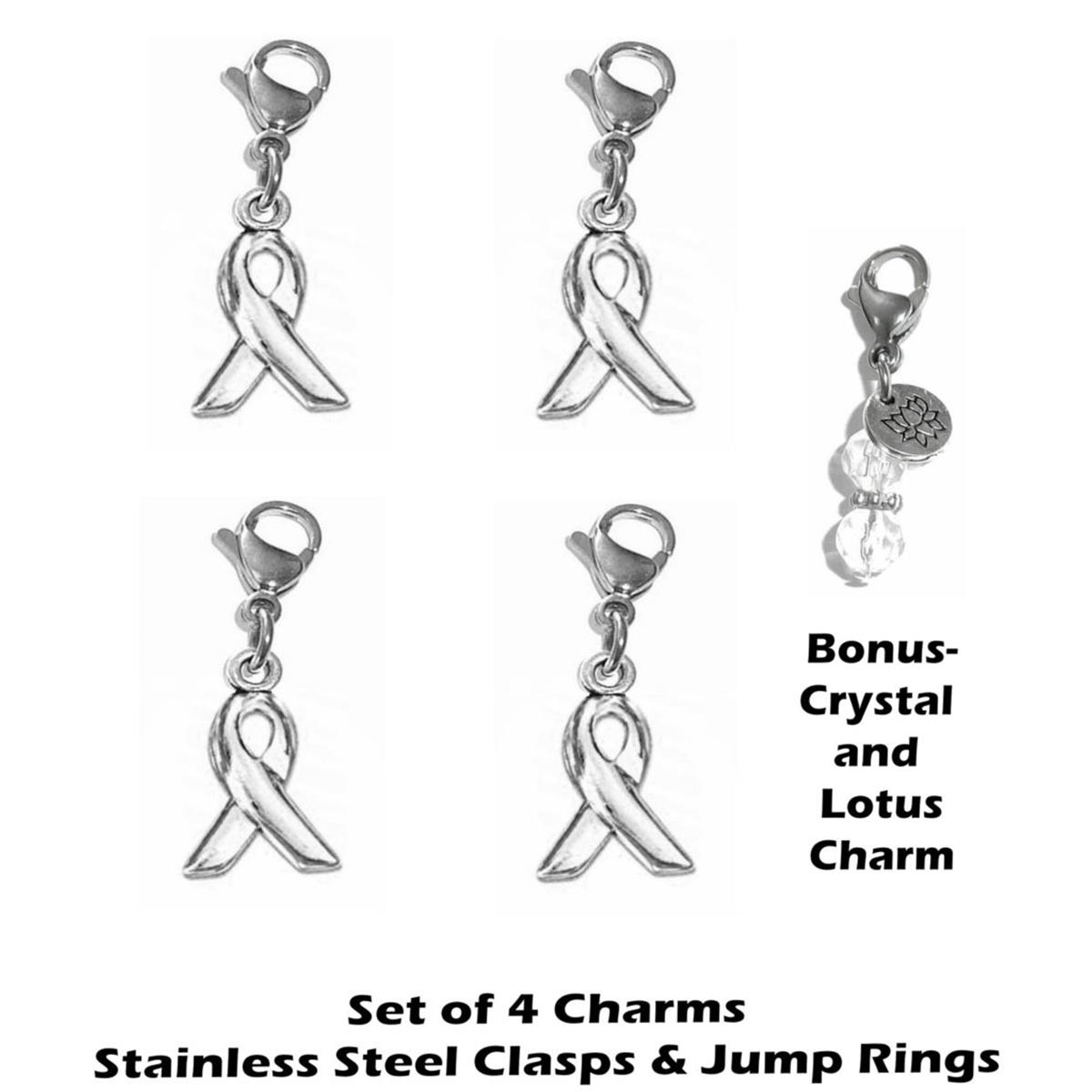 4 pack cancer awareness clip on charms - whimsical charms