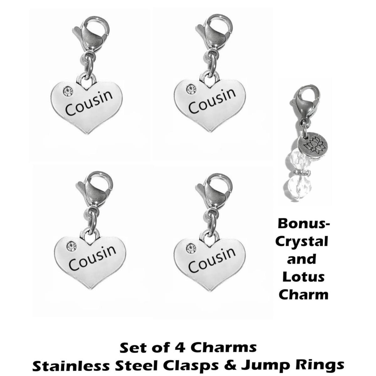 4 pack cousin clip on charms - family charms