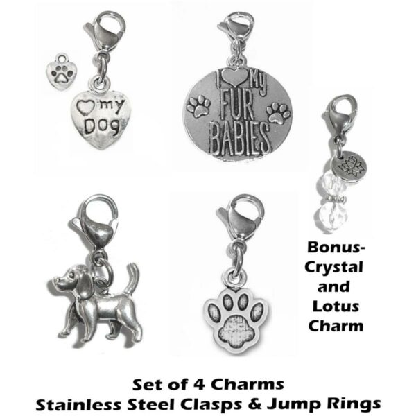 dog clip on charms - mixed dog charms