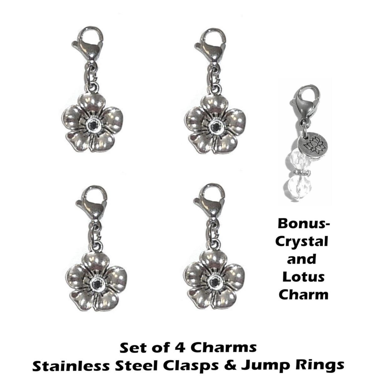 4 pack flower clip on charms - whimsical charms