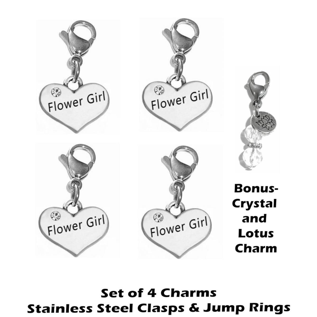 4 pack flower girl clip on charms - wedding party charms