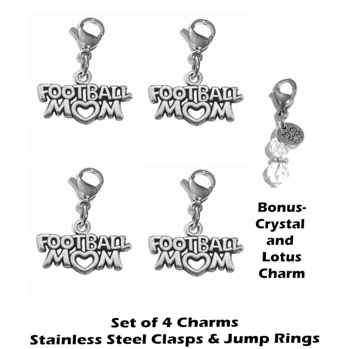4 pack football mom clip on charms