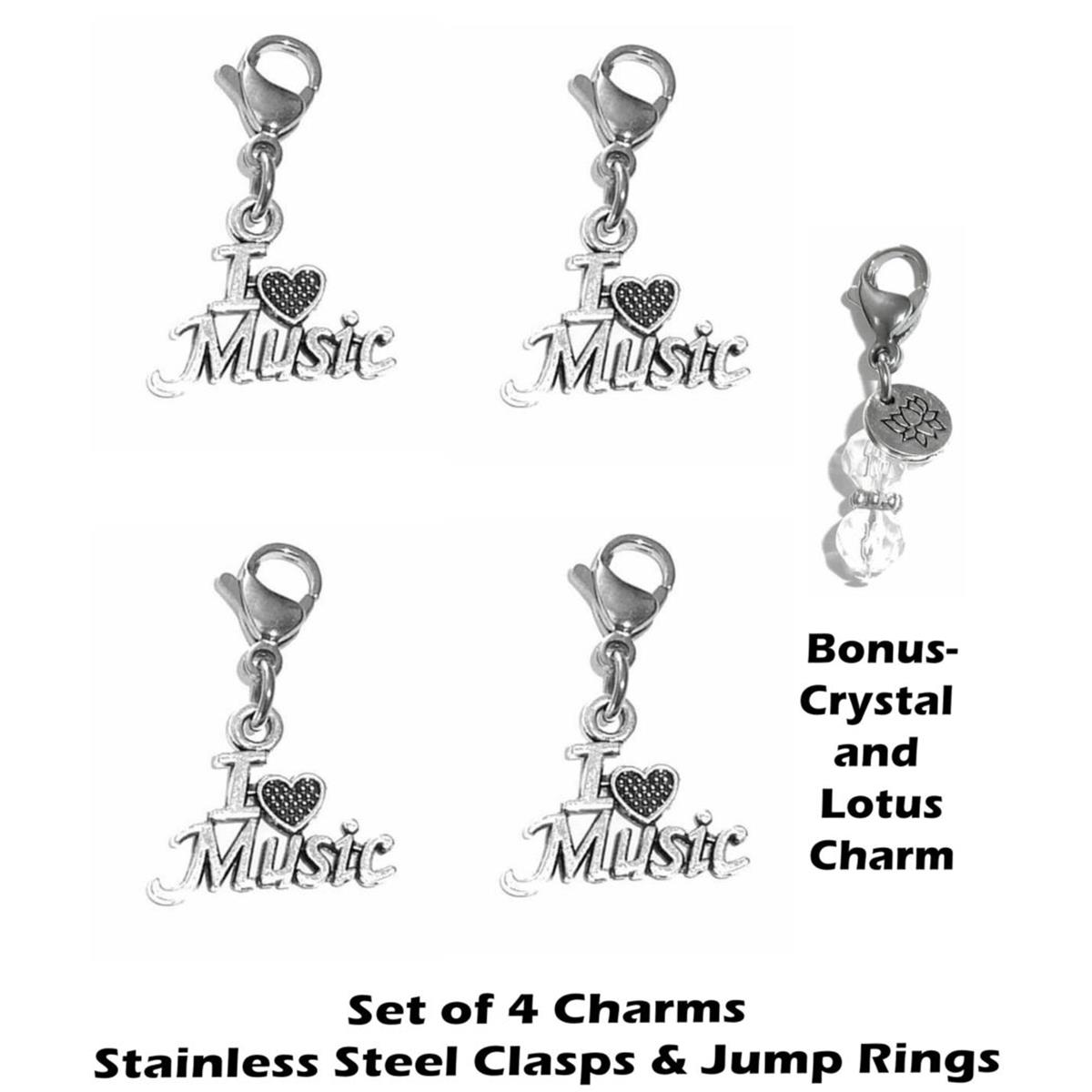4 pack i love music clip on charms - whimsical charms