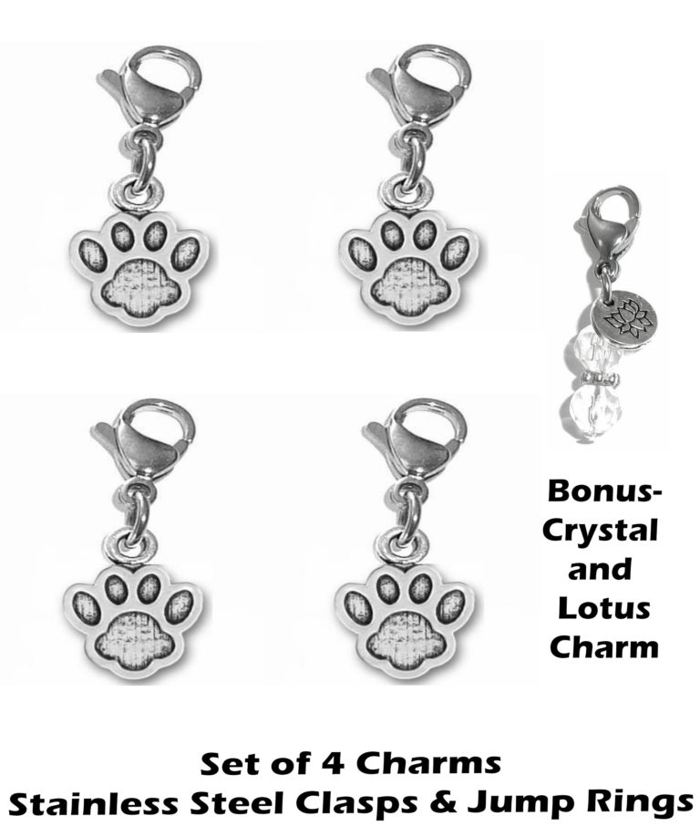 4 pack paw print clip on charms - animal charms