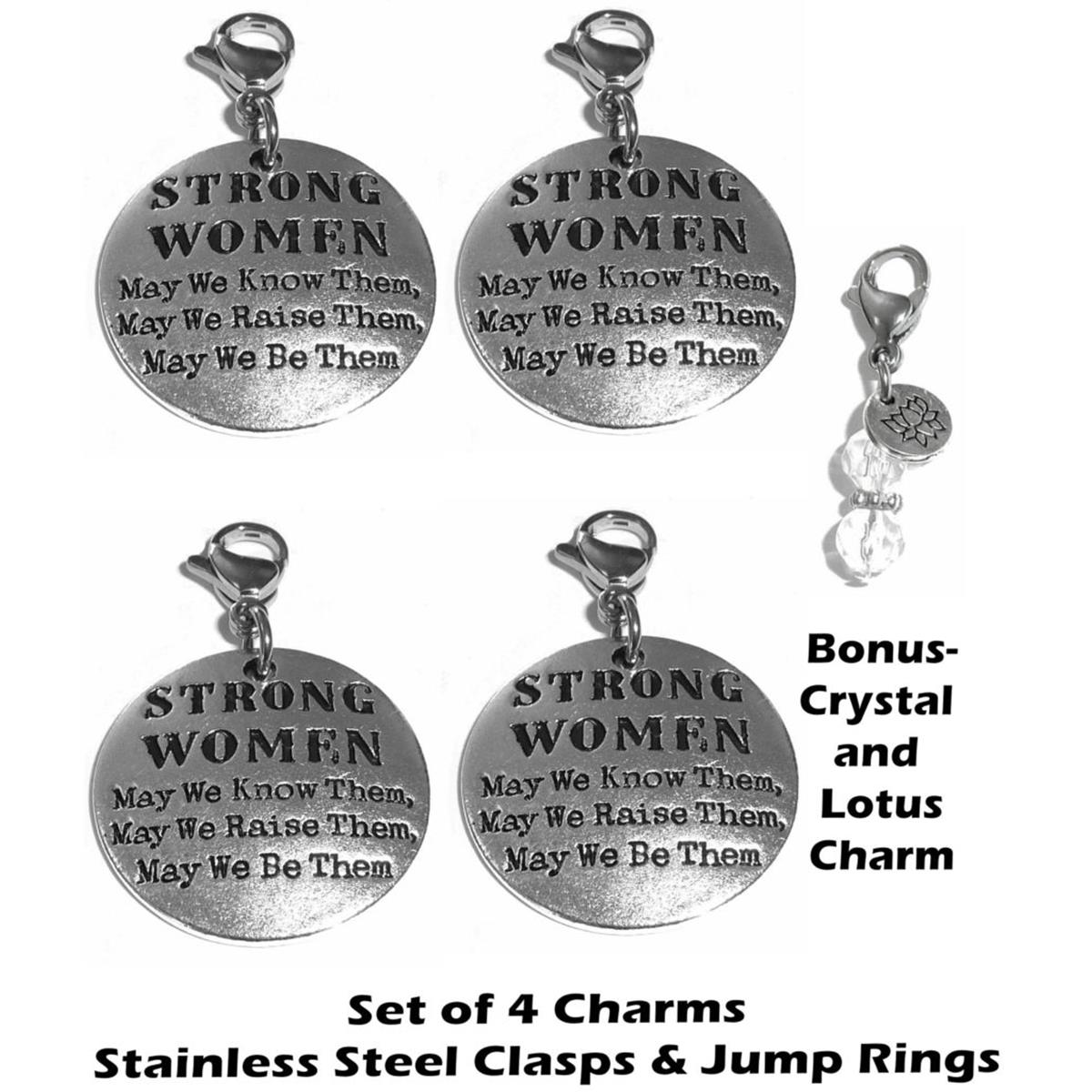 4 pack Strong Women clip on charms - inspirational charms