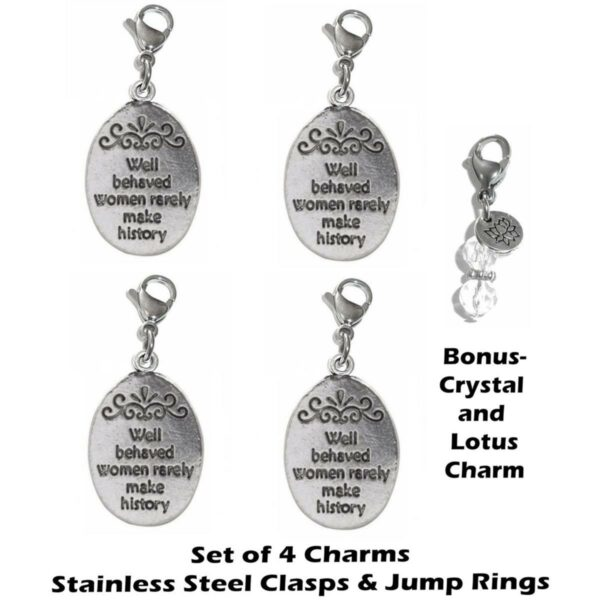 4 pack well behaved women clip on charms - whimsical charms