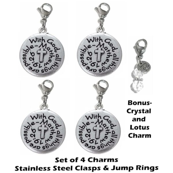 4 pack With God clip on charms - inspirational charms