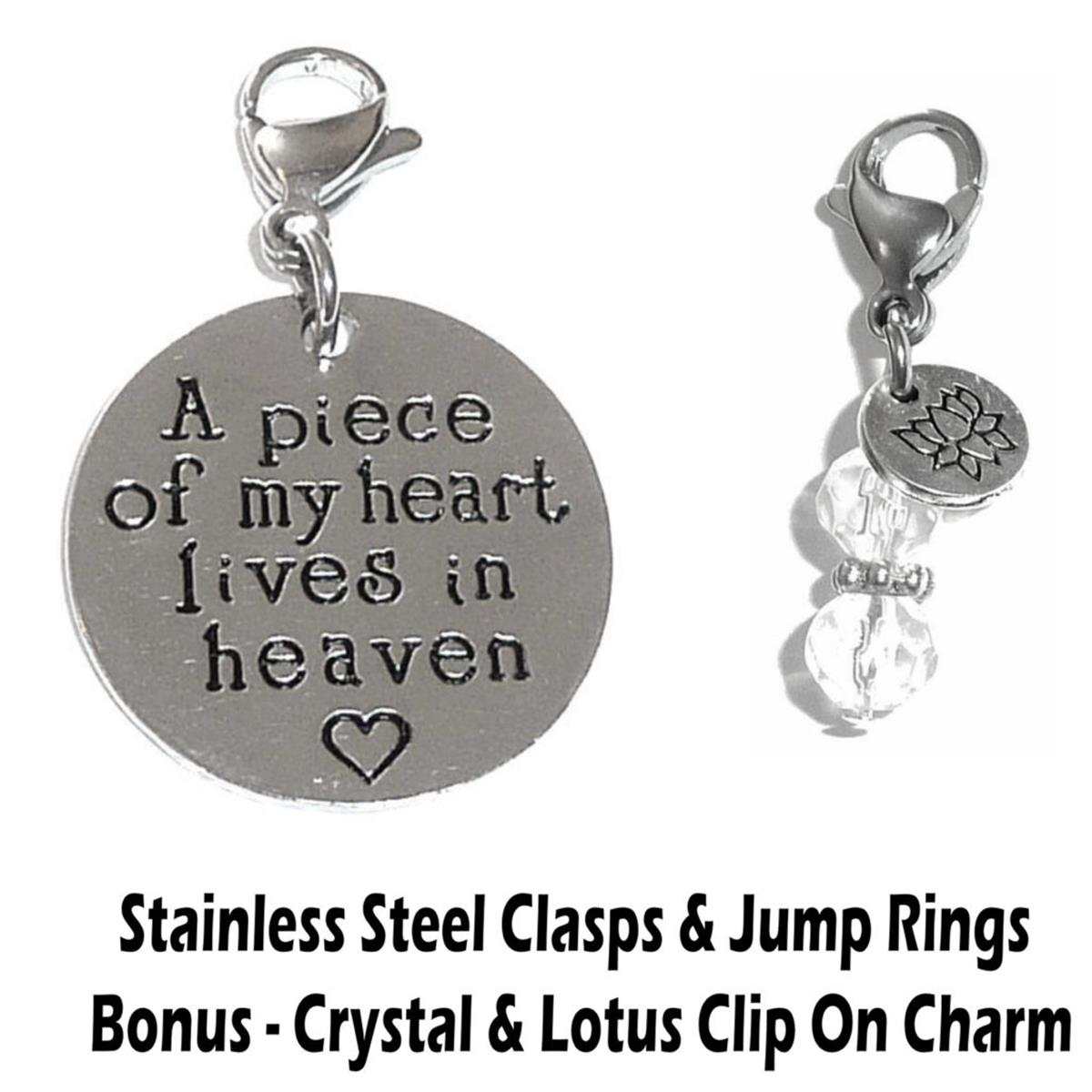 A piece of my heart lives in heaven clip on charm - inspirational charms