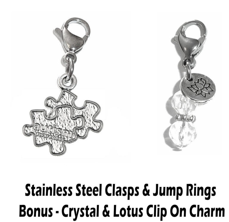 autism puzzle piece clip on charm - whimsical charms clip on