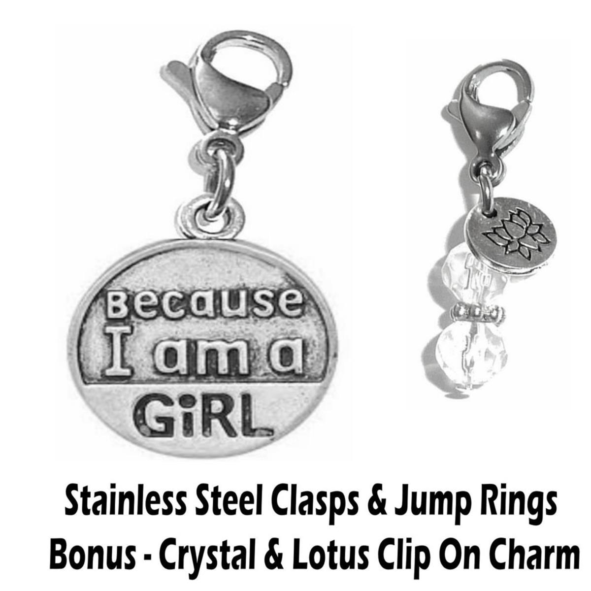 because I am a girl clip on charm - whimsical charms clip on