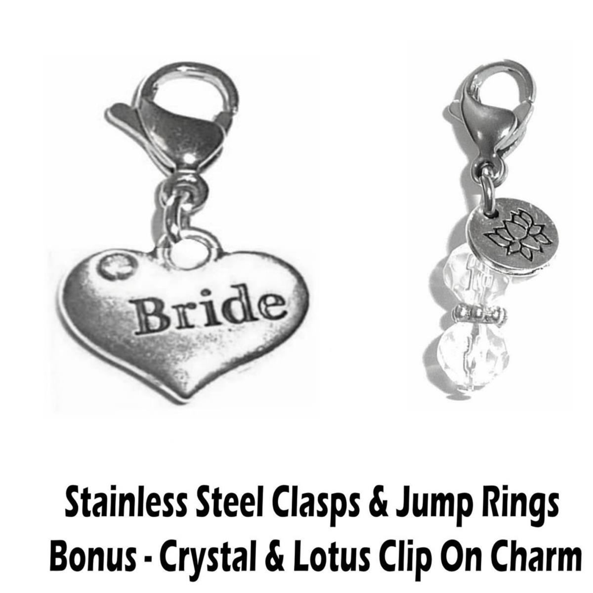 Bride clip on charm - wedding party charms