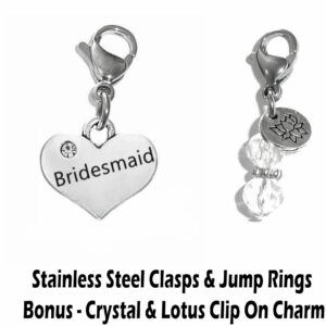 bridesmaid clip on charm - wedding party charms