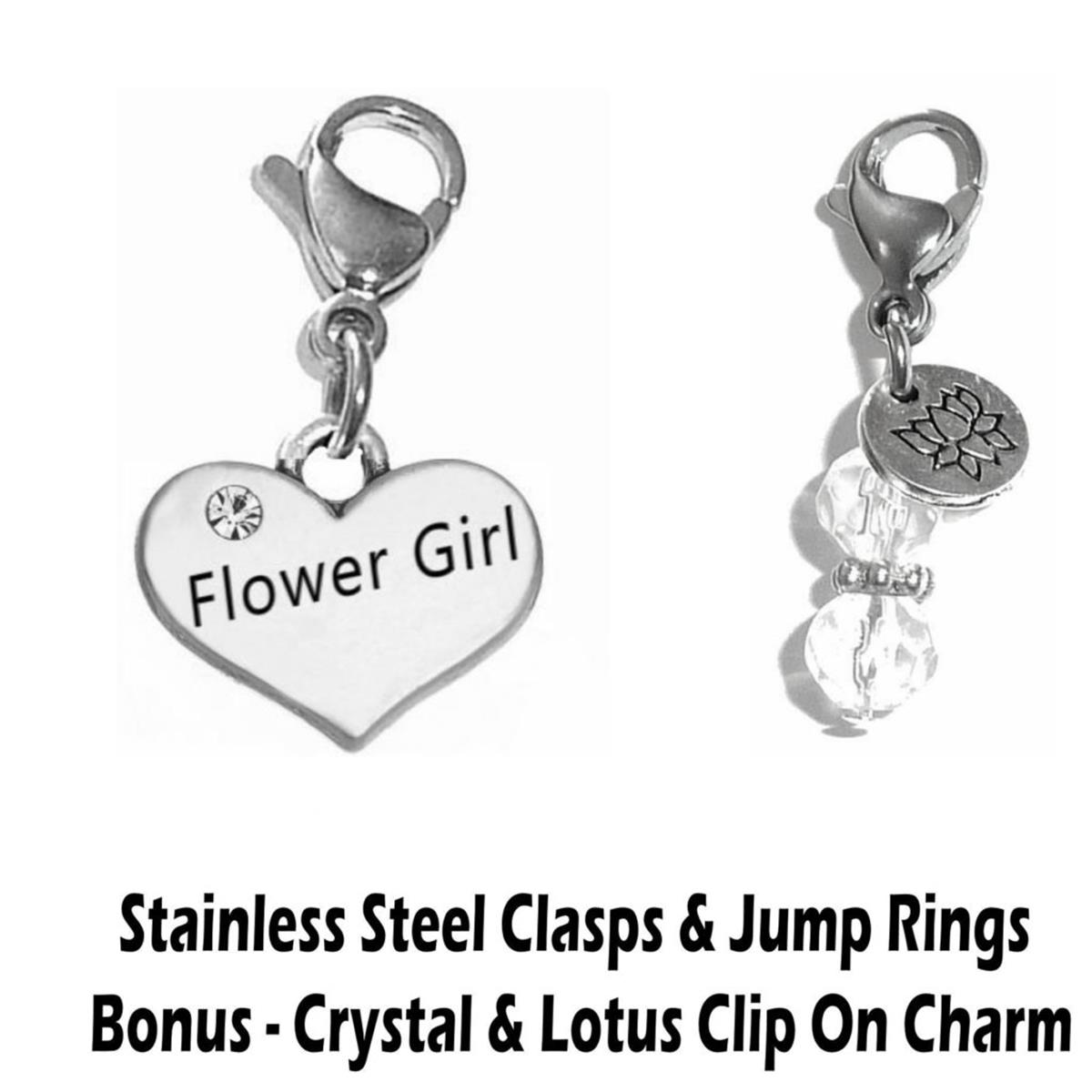 flower girl clip on charm - wedding party charms