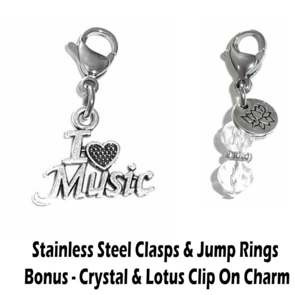i love music clip on charm