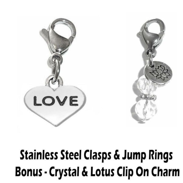 love clip on charm - whimsical charms clip on