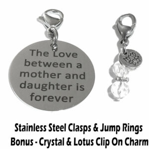 love between a mother and daughter is forever clip on charm
