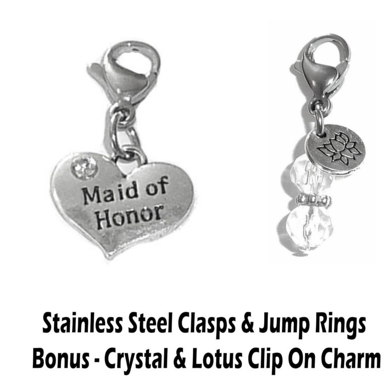 maid of honor clip on charm - wedding party charms