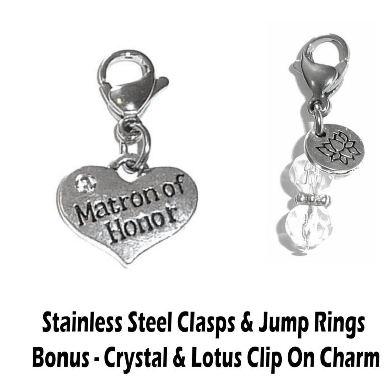 matron of honor clip on charm - wedding party charms