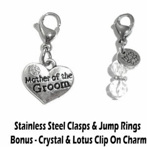 mother of the groom clip on charm - wedding party charms