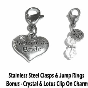 mother of the bride clip on charm - wedding party charms